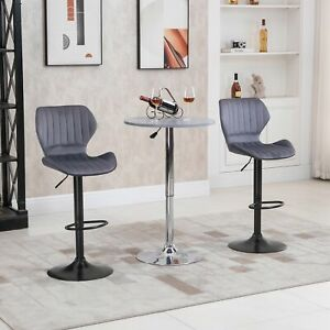Bar Stool Set of 2 Velvet-Touch Adjustable Height Swivel Chairs Footrest