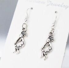 925 Sterling Silver Hooks Silver Kokopelli Native American Indians Earrings