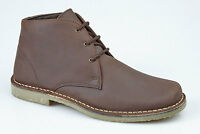 Mens New Brown Waxy Leather Desert Ankle Fashion Boots Size 6 7 8 9 10 11 12
