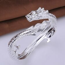 Mens Silver Tone Heavy Stainless Steel Double Dragon Head Clasp Bangle Bracelet