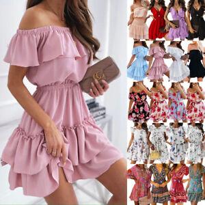 Boho Damen Sommerkleid Minikleid Blumen Urlaub Partykleid Freizeit Strandkleid