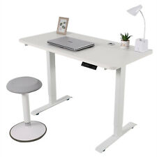 Electric Standing Laptop Desk White Adjustable Height w/ Controller Home Office