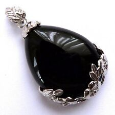 *LARGE BLACK ONYX CRYSTAL FLORAL FRAMED DROP PENDANT & CHAIN - HEALING / REIKI*