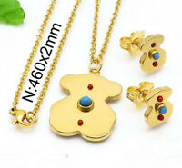 High Quality Stainless Steel Teddy Bear Pendant Necklace Earrings Jewelry Set