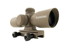 Monstrum Tactical 4x30 Ultra-Compact Rifle Scope, ILL. Mil Dot Reticle, FDE, Tan