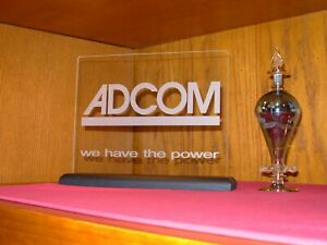 ADCOM  ETCHED GLASS SIGN W/BLACK OAK BASE