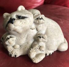 Rare Medium Stone Quarry Critters Rascally Racoons MOM Mother Babies Figurine