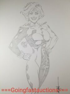 Wyman Original Comic Book Art Drawing Sketch Batman Harley Quinn Pin Pencil 2011