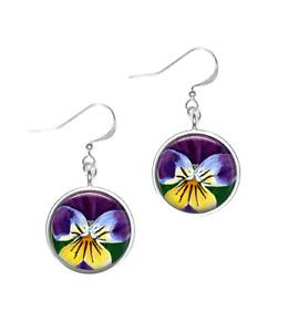 Silver Plated Pansy Flower Art Earrings
