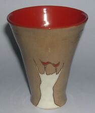 Art Pottery - Modernist mug with Two Birds on a Tree decoration -  Signed.