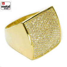 Men's Bling Brass 14k Gold Plated All Around CZ Band Square Dome Pinky Rings