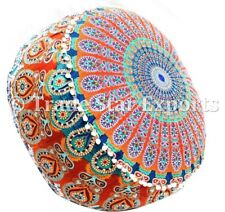 Indian Ottoman Pouf Cover Mandala Round Footstool Hippie Large Pouffe Case