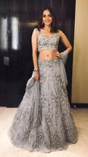 Gray Net Lehenga Choli Indian Wedding Wear Designer Lengha Chunri Saree Sari