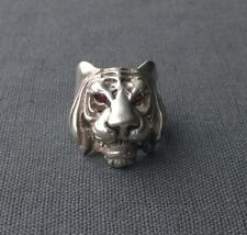 SOLID RARE 925 STERLING SILVER AFRICAN TIGER RING WITH RUBY EYES SIZE I