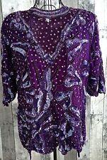 Vintage Purple Sequin Beaded Top Blouse Silk Poly Lined Short Sleeves Medium