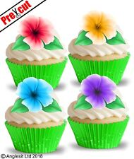 PRE-CUT HAWAIIAN FLOWERS II. EDIBLE WAFER CUP CAKE TOPPERS PARTY DECORATIONS