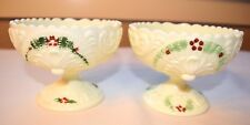 "CUSTARD GLASS BOWL NORTHWOOD GENEVA PATTERN 3 1/2"" X 4 1/2"" WIDE SET OF (2) TWO"