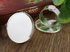 25 mm réglable Ring Blanks | lumière Plaqué Argent | Large Tige | 4pcs