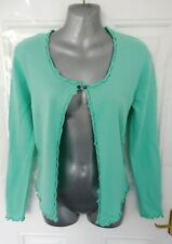 ❤ WOOLOVERS Size 14 (M) Mint Blue Silk Cotton Stretchy Button Fasten Cardigan