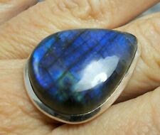 Large 925 Silver FIRE LABRADORITE Ring Sz R-8.5 R506~Silverwave*uk Jewellery