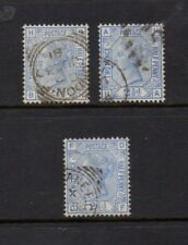 GB QUEEN VICTORIA 1881 SG 157 2 1/2d BLUE - PLATE NUMBERS 21 22 AND 23 GOOD USED