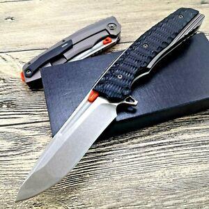 Drop Point Folding Knife Pocket Hunting Survival Tactical G10 Handle S35VN Steel