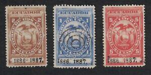 Lot of 3 - 1886 / 1887 ECUADOR Revenue Stamps - See Photos 1011