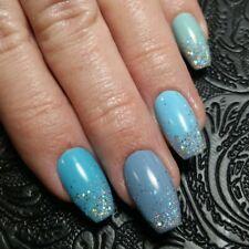 20 MANY MEMPHIS BLUES Tiffany Holo Tips Medium Gel Polish Coffin Nails Press On
