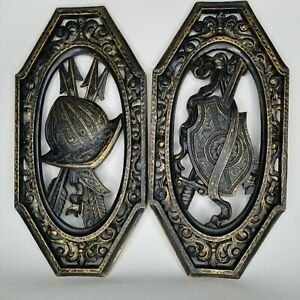 Homco Spanish Gothic Medieval  Wall Plaques Armor Coat of Arms 2 Vintage