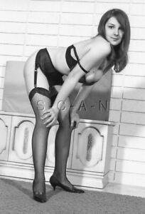 Semi Nude B/W Photo- Endowed- Garter- Fishnet Stockings- Bra- Heels- Bends Over