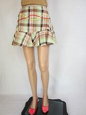 Bik Bok Designer Womens Embroider Check Short Mini Trumpet Linen Skirt sz M AP81