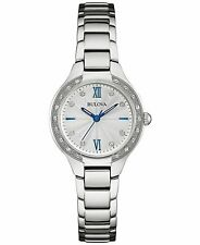 Bulova Women's Quartz Diamond Accent Silver-Tone Blue Hands 28mm Watch 96R208