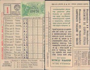 R@R@ SCHEDA TOTOCALCIO 13 PARTITE+2 RISERVE CONC.N.1 DEL 07/09/1958 VALIDATA