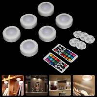 6x LED Under Cabinet Lights Dimmable RGB Puck Lights Closet Lighting Night Light