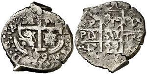 ☆ HISPANIC SILVER COB • COLONIAL 1 REAL 1699 POTOSI • CARLOS II ☆ CAL-739 ☆C5790