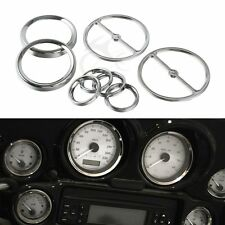 Chrome Speedometer Gauges Bezels Horn Cover fit For Harley Touring 1996-2013