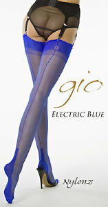 Gio Fully Fashioned Stockings - SUSAN Electric Blue Size 10.5 - NYLONZ