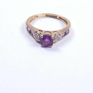 Amethyst Diamond ring 9 carat yellow gold 3 stone size L