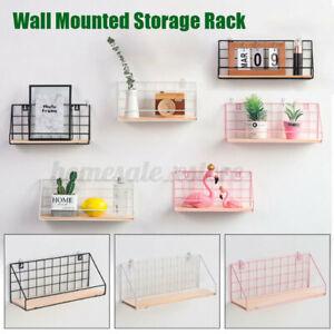 Floating Wall Shelves Metal Wire Hanging Rustic Storage Shelf Decor Organizer US