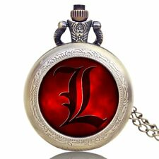 Cool Red Death Note Anime Pendant Necklace Quartz Men's Boy Pocket Watch Cosplay