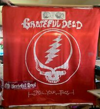 """Vintage Gratetful Dead 1986 Tour Flag Banner STEAL YOUR FACE 45""""/45"""" Dylan/Petty"""