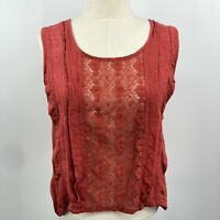 Urban Outfitters Kimchi Blue Top Sleeveless Button Back NWT Size M Lace Red