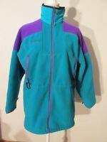 V7593 Columbia Green/Purple Fleece Zip Up Long Jacket Women's M