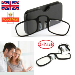 2Pack Mini Nose Clip Reading Glasses Unisex Ultra Thin With Case Optics Wallet