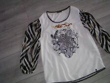 Decay Shirt, Bluse, Blusenshirt, langarm, Tigerdruck, Pailetten, Gr. 40, NEU
