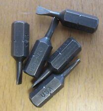"Set of 5 1/4"" Hex Insert Screwdriver Bits 25mm Length Desoutter P/no 4023140002"