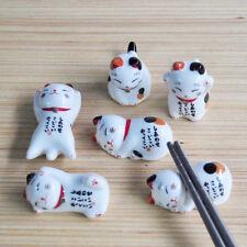 Ceramic Porcelain Ware Holder Lucky Cat Chopstick Rest Stand Fork Support Random