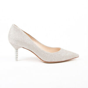 Sophia Webster Coco Gold Silver Glitter Crystal Heel Pumps SZ 10