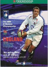 England v Italy 2003 Rugby Programme 9 March - Twickenham Grand Slam England
