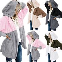 Womens Oversized Open Front Hooded Draped Pockets Cardigan Coat Jacket Tops AD